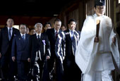 日本跨党派议员联盟参拜靖国神社